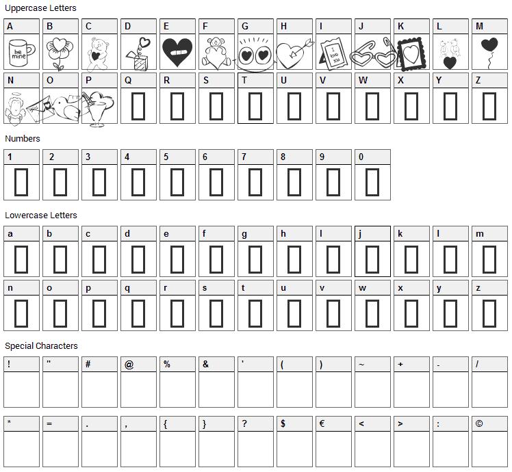 KR Cuori Divertenti 4 Font Character Map