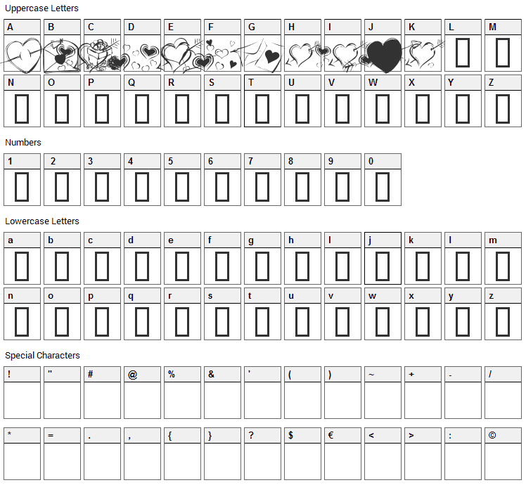 KR Cuori Divertenti 7 Font Character Map