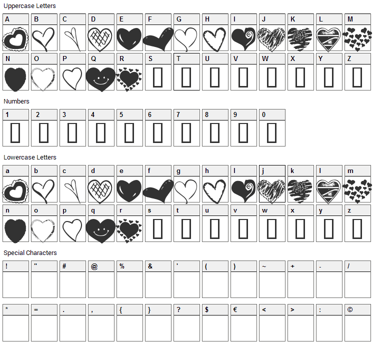 KR Heartalicious Font Character Map