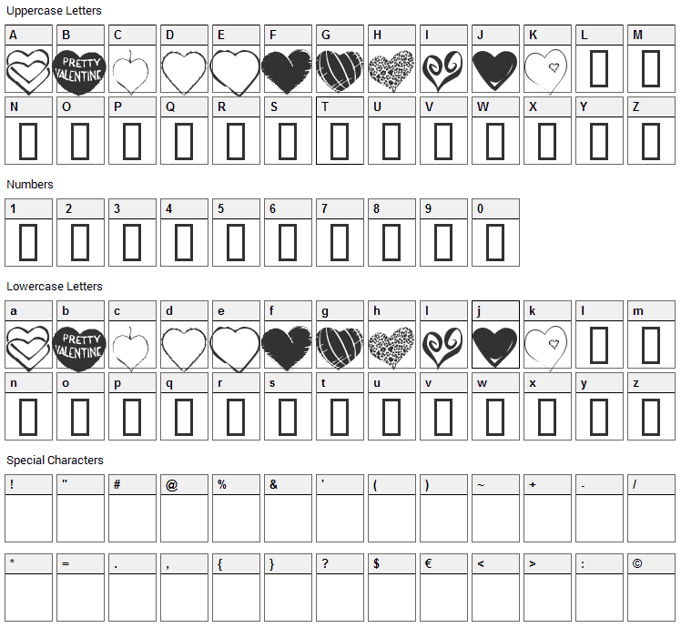 KR Heartfelt Font Character Map