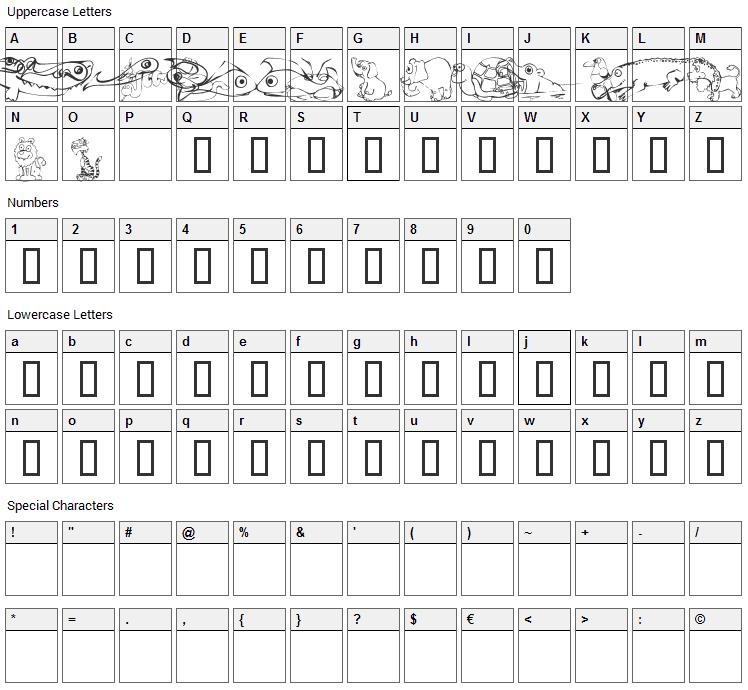 KR Jungle Scraps Font Character Map