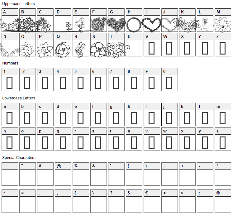 KR Just The Flowers Font Character Map