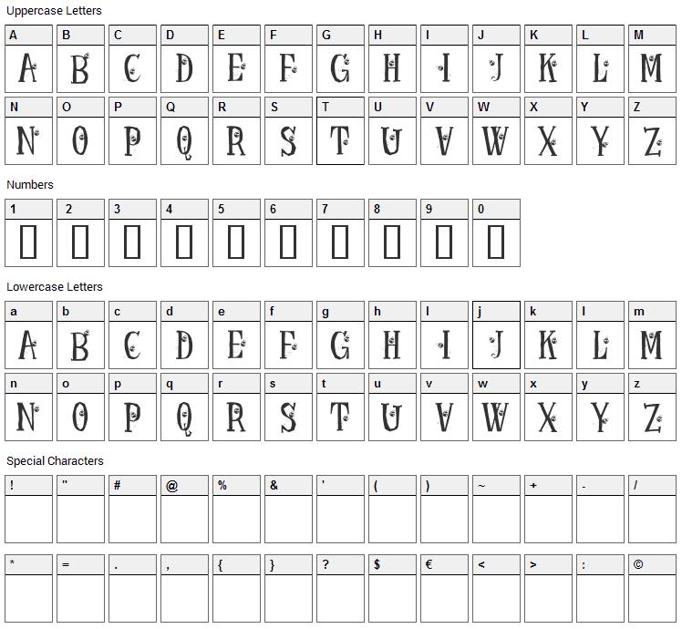 KR Ladybug Font Character Map