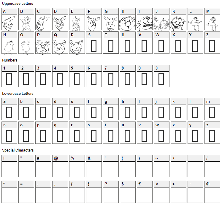 KR Lil Mites Font Character Map