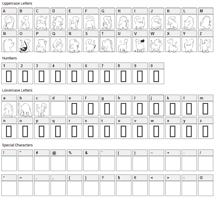 KR Nickys Dinos Font Character Map