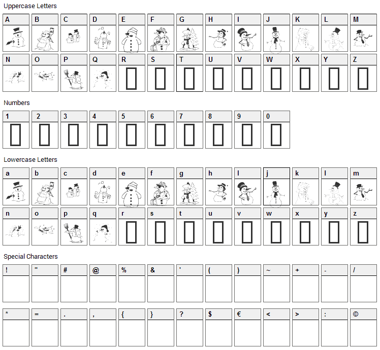 KR Snow People Font Character Map