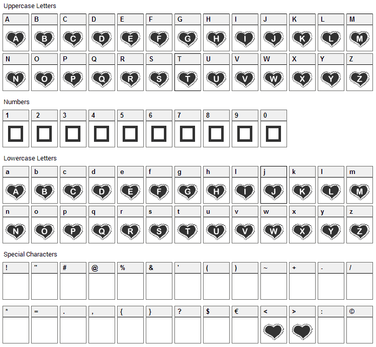 KR Valentine Heart Font Character Map