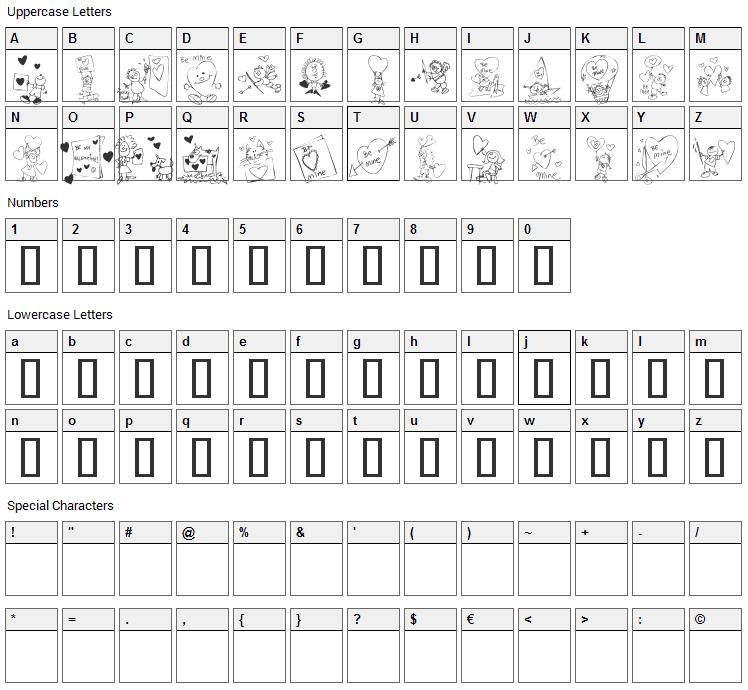 KR Valentine Kids 2006 Font Character Map