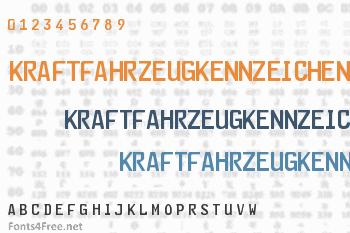 Kraftfahrzeugkennzeichen Font