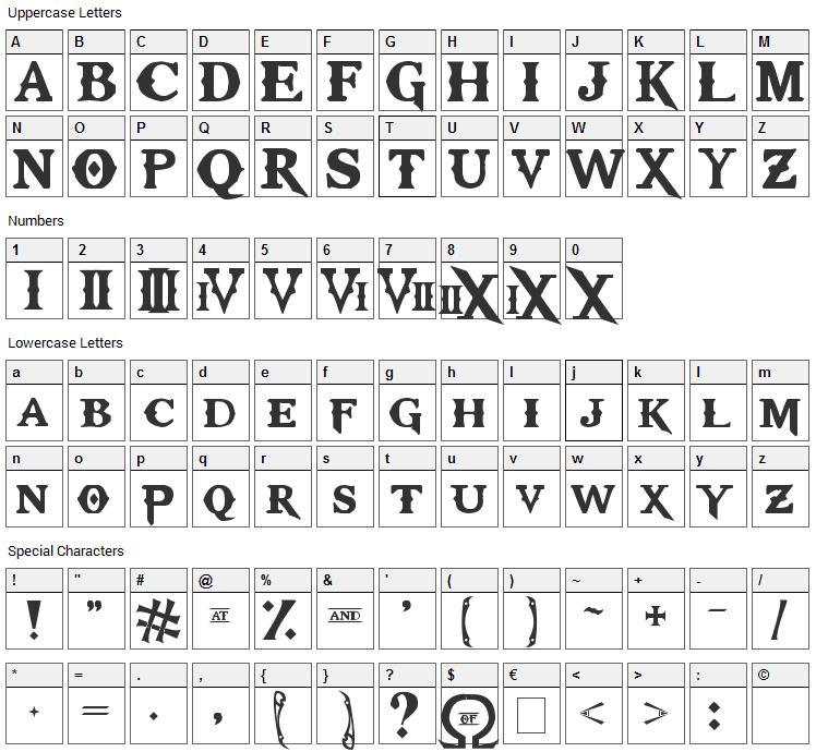 Kratos Truetype Font Character Map