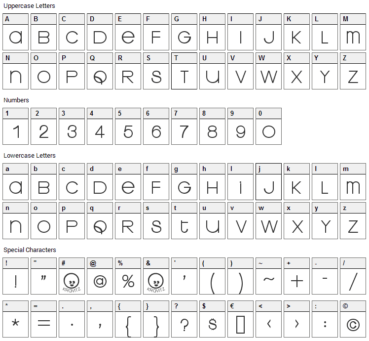 Kravitz Thermal Font Character Map