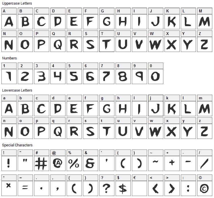 Kreeture Font Character Map