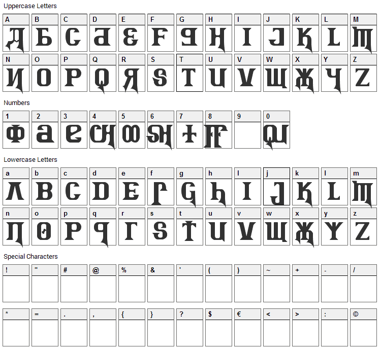 Kremlin Advisor Display Kaps Font Character Map
