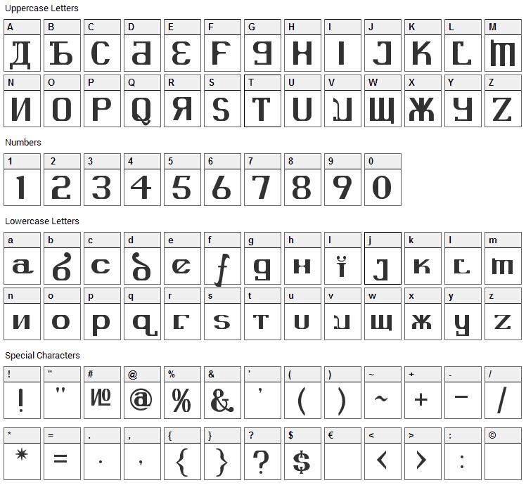 Kremlin Advisor Font Character Map