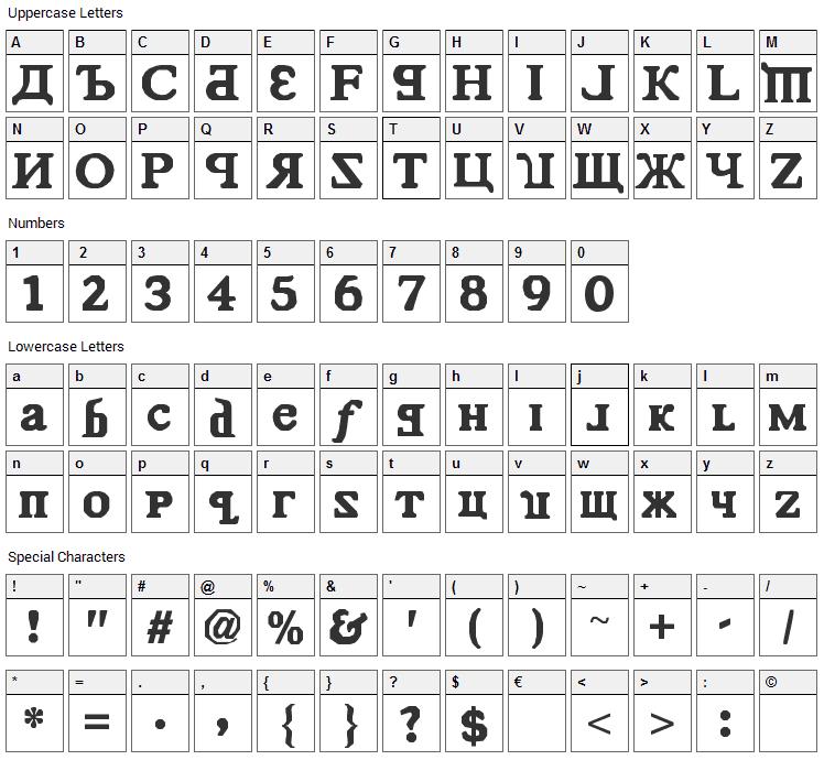 Kremlin Comrade Font Character Map