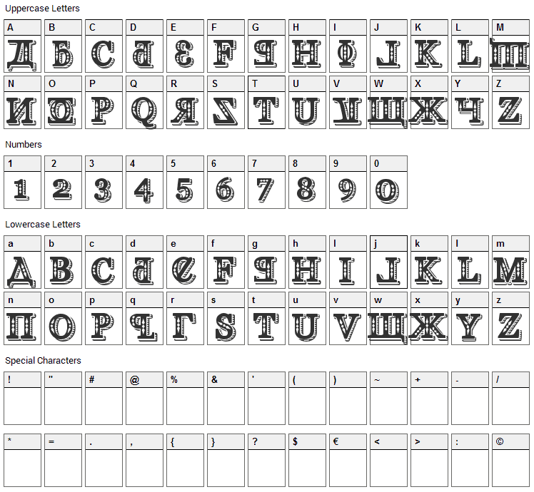 Kremlin Georgian Font Character Map