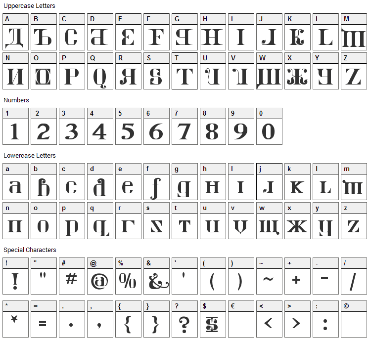 Kremlin Imperial Font Character Map