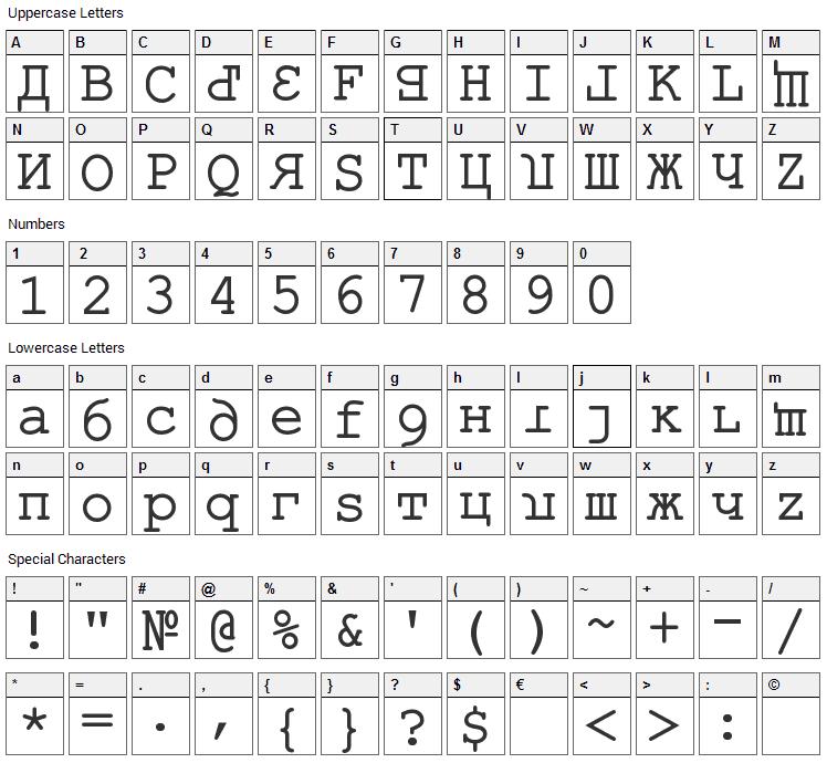 Kremlin Kourier II Font Character Map