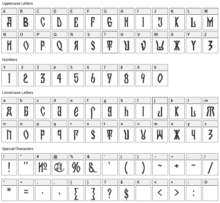 Kremlin Orthodox Church Font Character Map