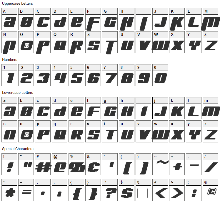 Kreon Font Character Map