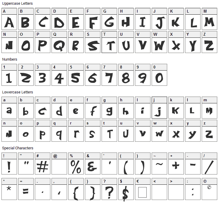 Kringle Castle Font Character Map