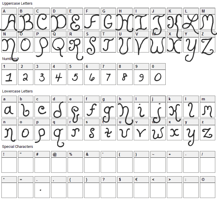 Kristen Curly Font Character Map