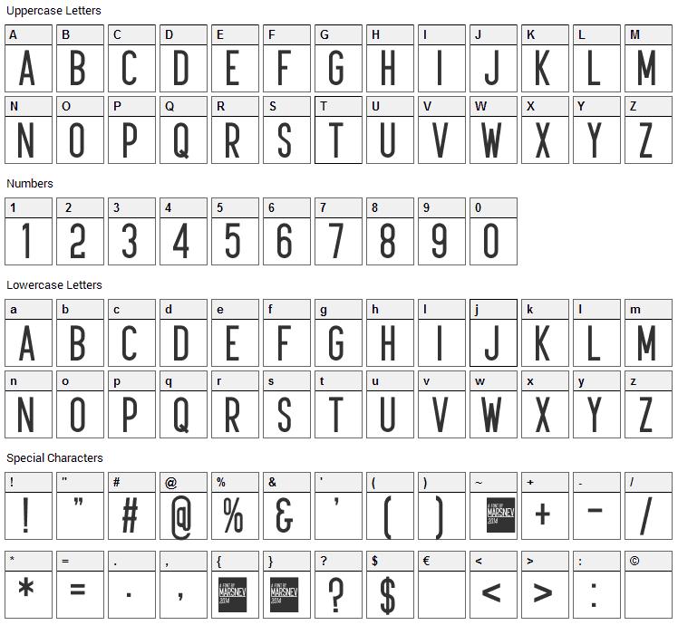 Kudajets Font Character Map