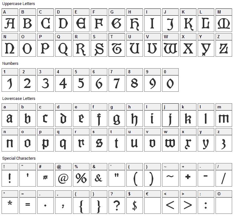 Kuenstler Gotisch Font Character Map
