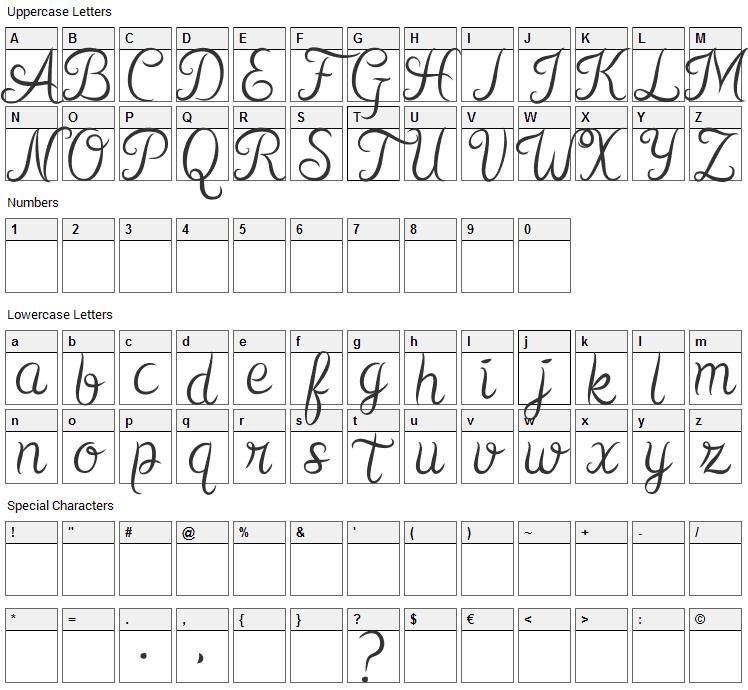 Kurnia Font Character Map