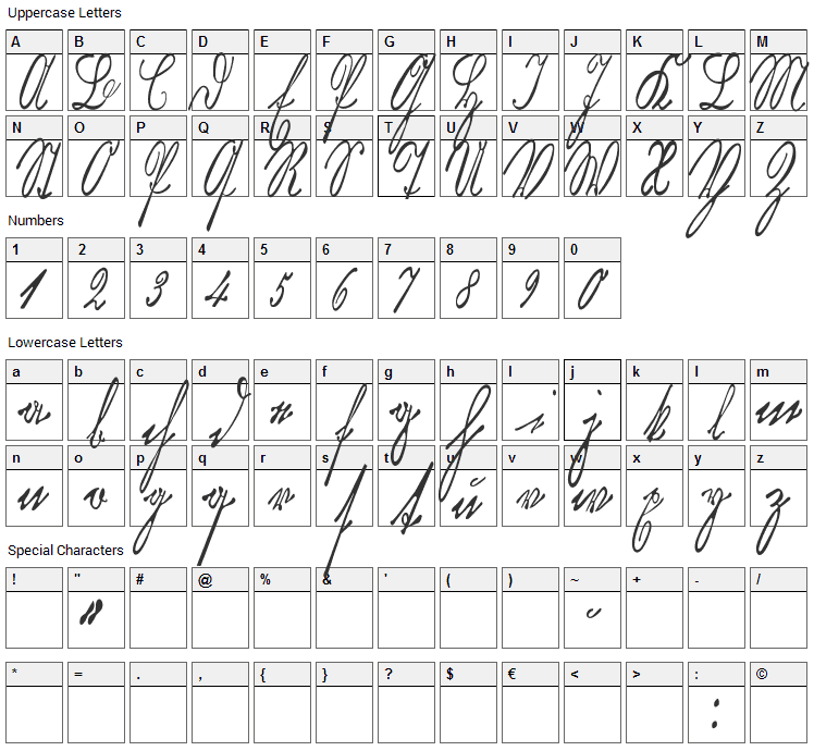 Kurrent Kupferstich Thin Font Character Map