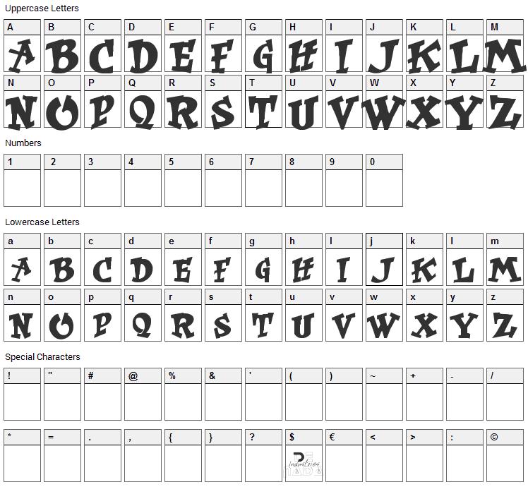 Kurt Russell Font Character Map