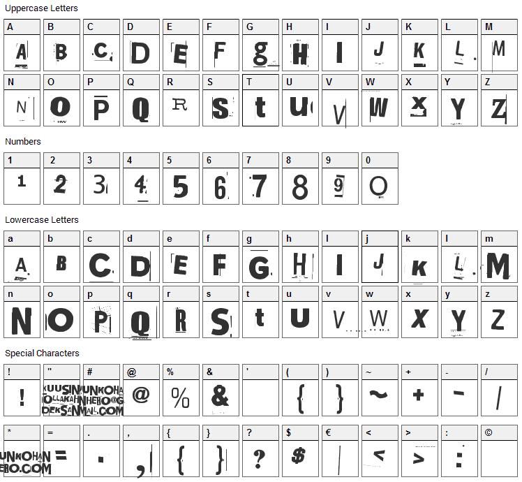Kuusinollakahdeksan Font Character Map