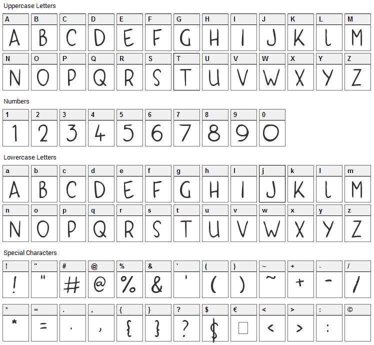 Kyri Kaps Font Character Map