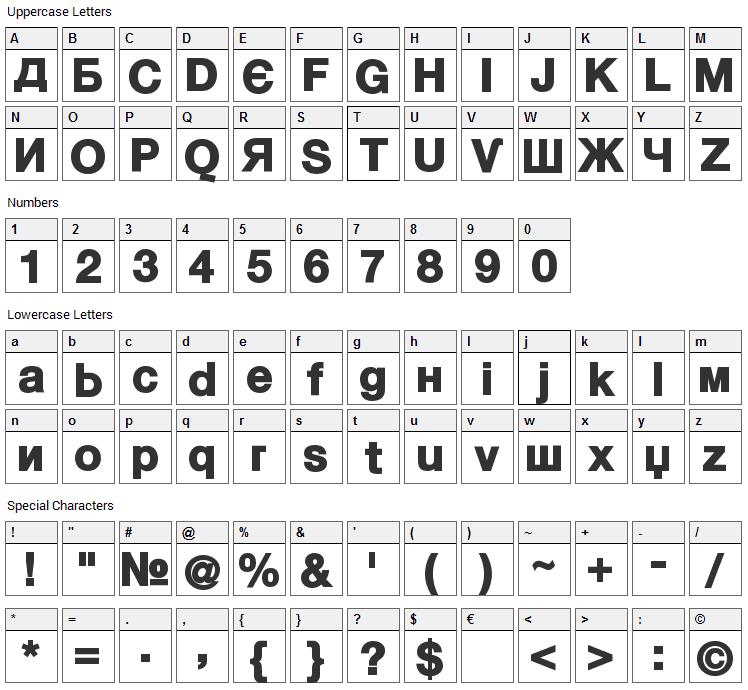Kyrilla Font Character Map