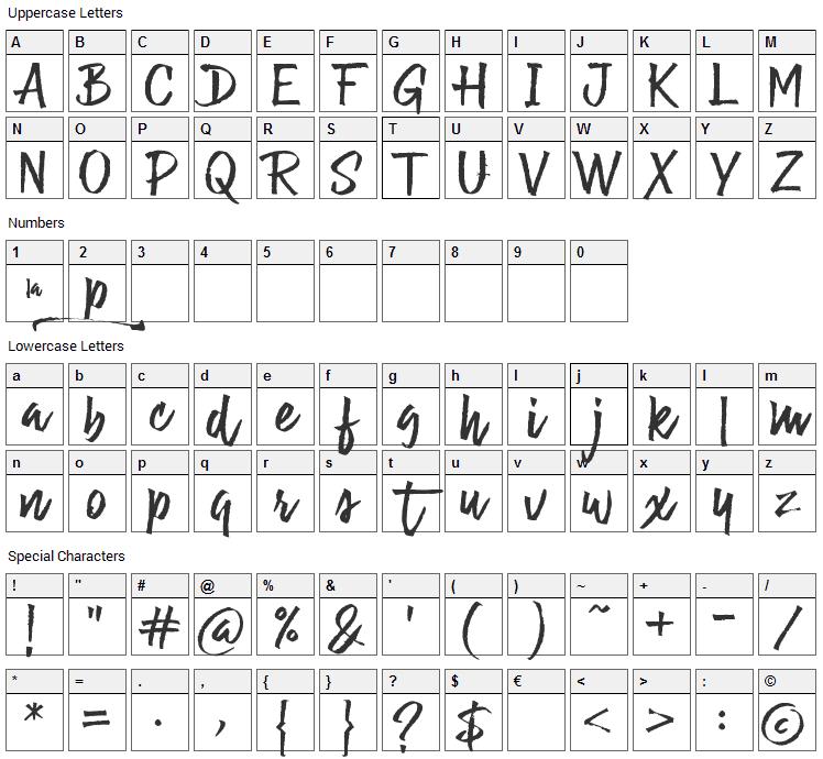La Guapita Font Character Map