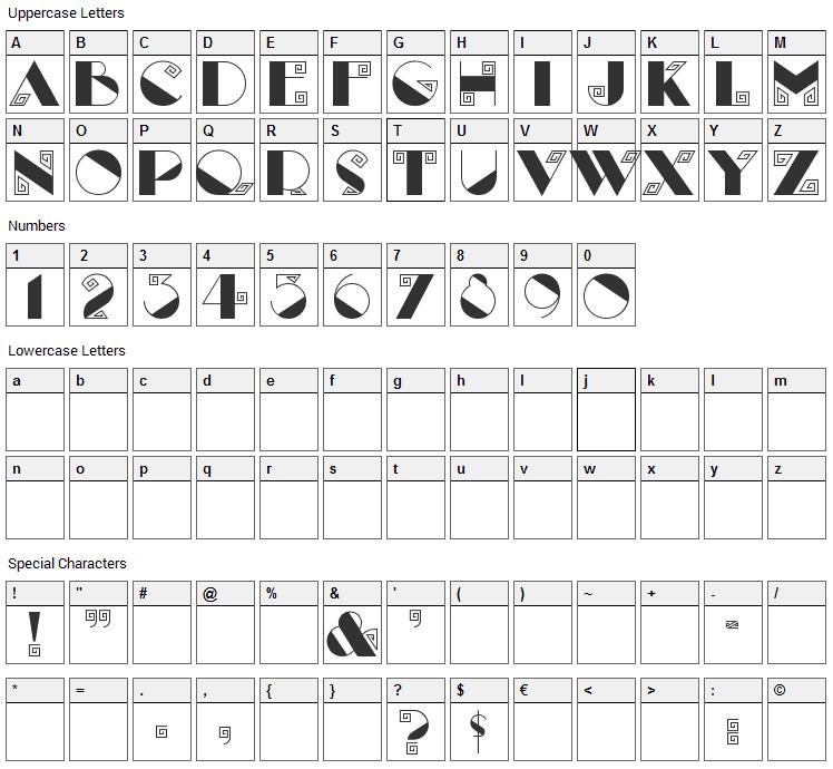 Labyrinth Font Character Map