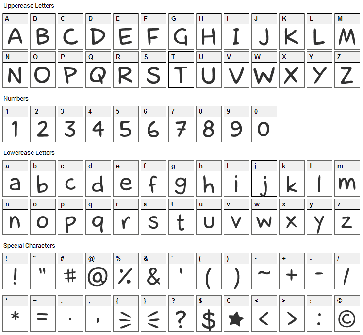 laCartoonerie Font Character Map