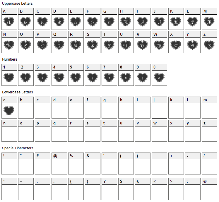 LaceHearts Font Character Map