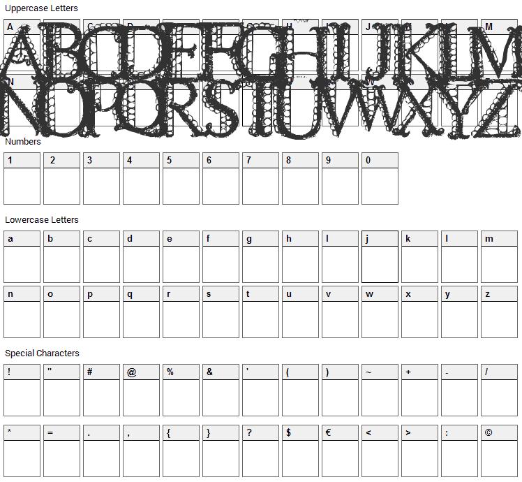 Lacetrim Font Character Map