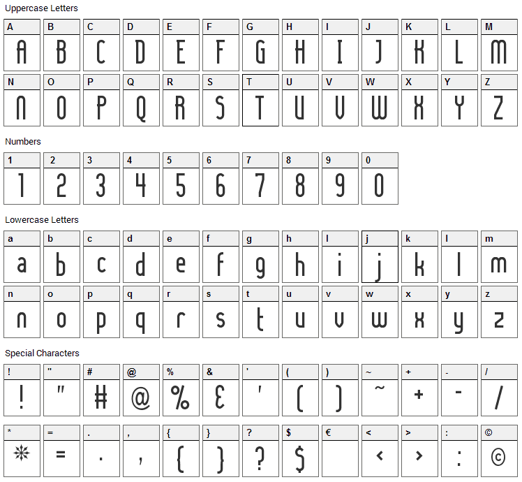Lady Ice Font Character Map