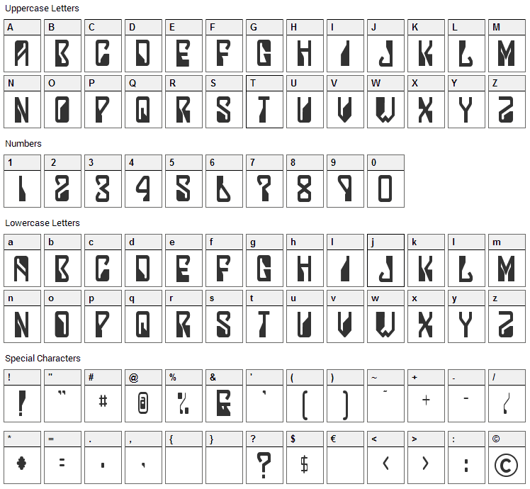 Lady Starlight Font Character Map