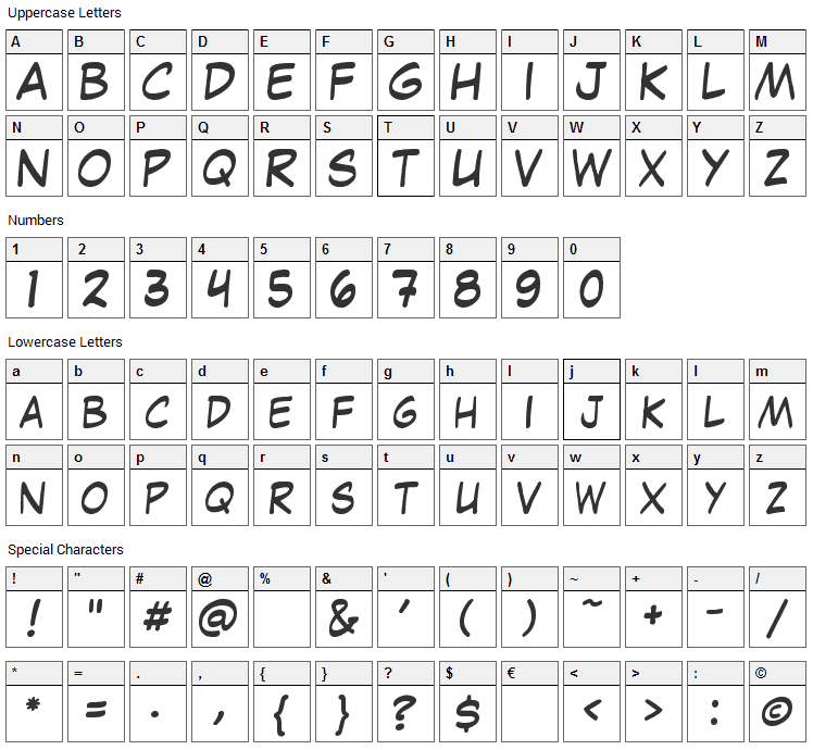 Laffayette Comic Pro Font Character Map