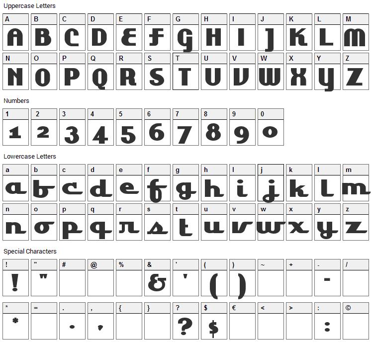Lakeshore Drive Font Character Map