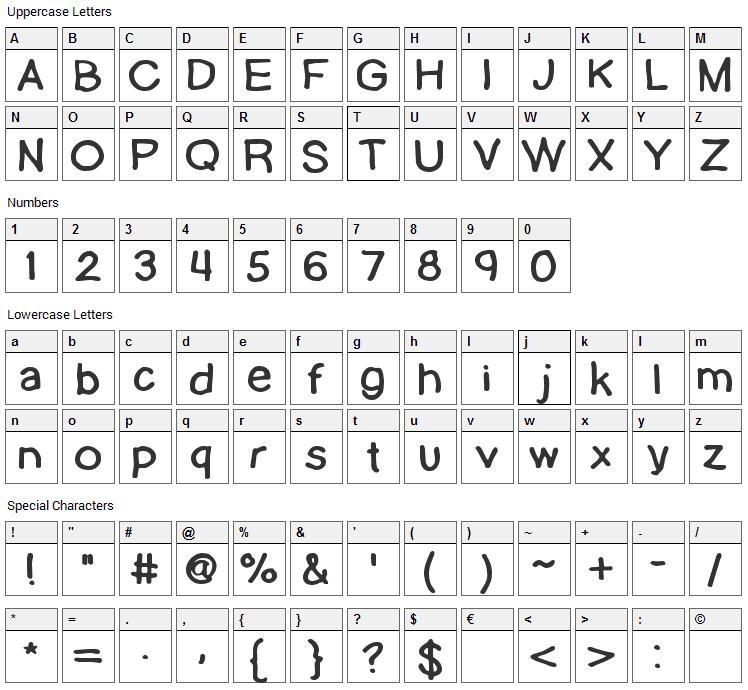 Lamebrain Font Character Map