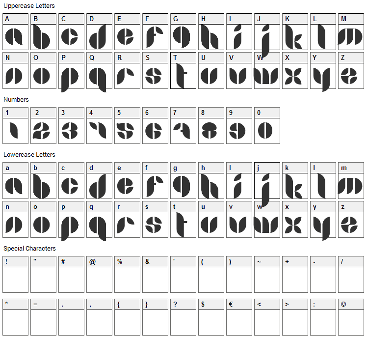 Lamia Font Character Map