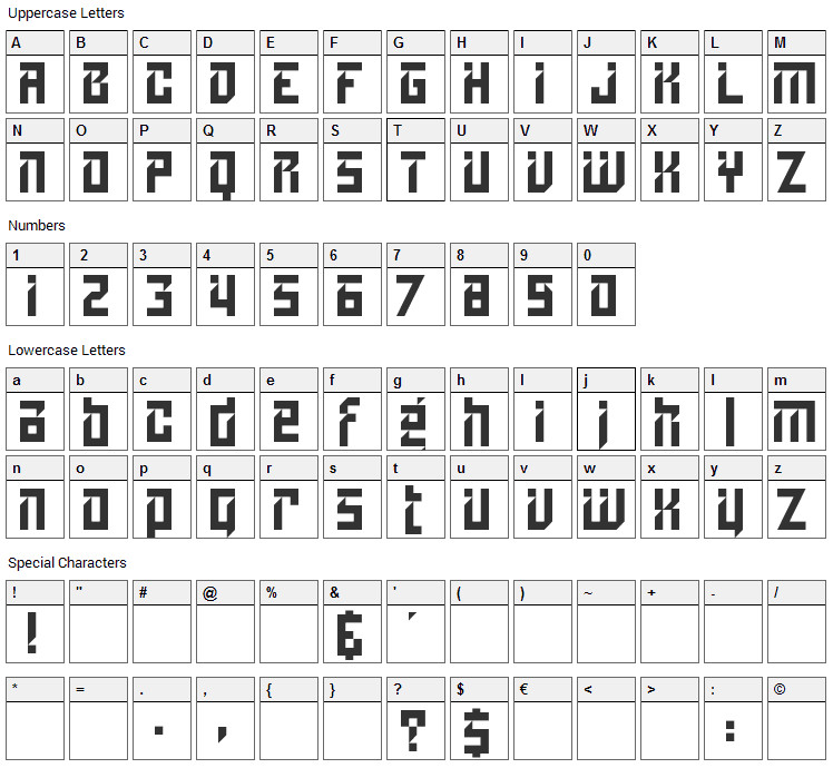 Lampoon Font Character Map