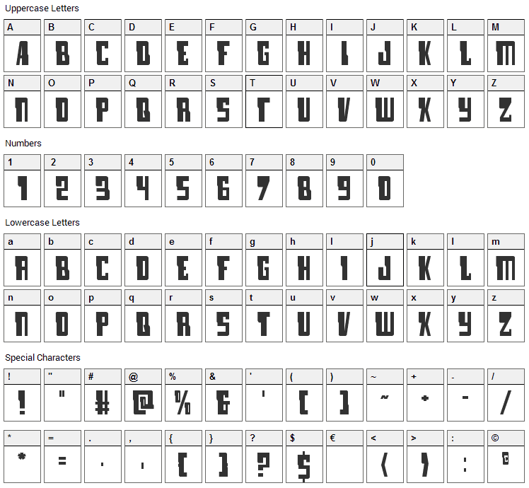 Lamprey Font Character Map