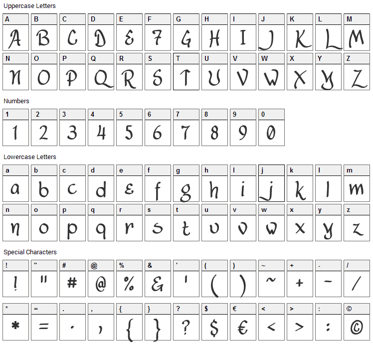 Lancastershire Font Character Map
