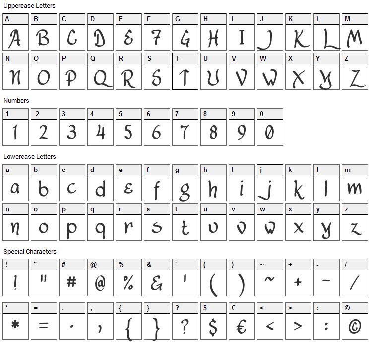 Lancastershire Font Character Map