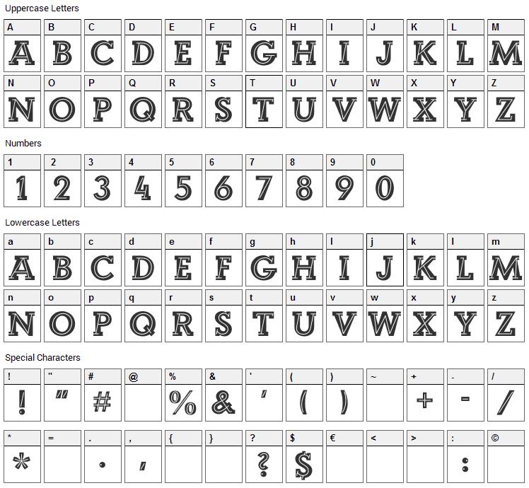 Landi Echo Font Character Map